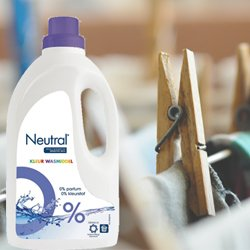 Neutral vloeibaar wasmiddel: 0% parfum, 100% schoon en fris